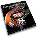 Adagio Flatwound - Cuerdas para bajo eléctrico (45-100 níquel, calibre regular)