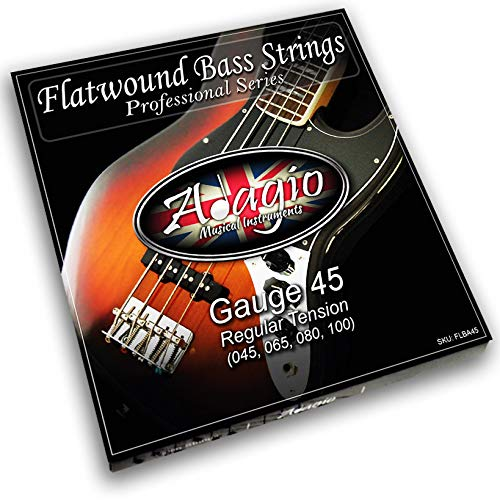 Adagio Flatwound-Gitarrensaiten für E-Bass 45-100, Nickel, Standardstärke