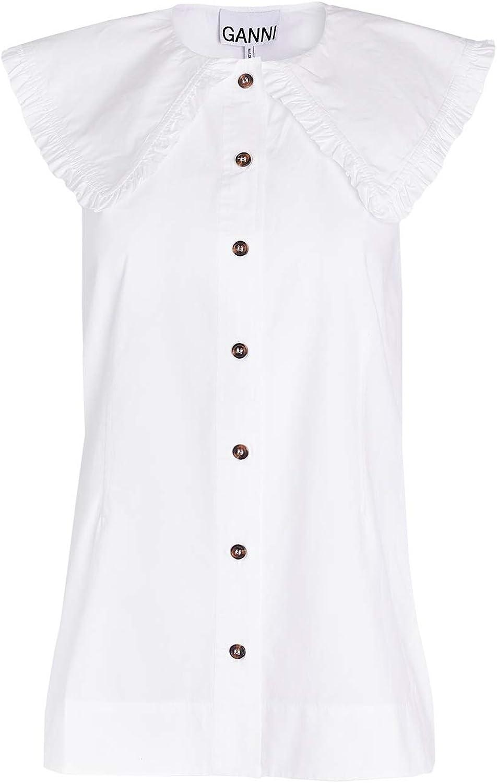 Ganni Women's Cotton Poplin Blouse Max 87% OFF Max 45% OFF