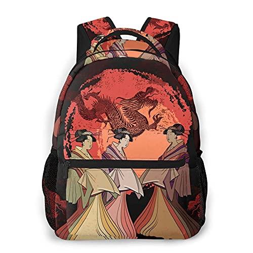 Cultura asiática geisha dragón tradicional japonés rojo Sun mochila para hombre mujer escuela viaje hombro mochila