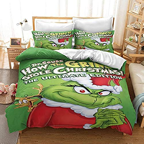 QWAS Grinch Graffiti Dragón 3D Juego de ropa de cama 3D para cama individual, doble traje de tres piezas (L1,200 x 200 cm + 50 x 75 cm x2)