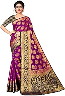Neerav Exports Banarasi Silk With Rich Pallu Traditional Jacquard Saree (Purple)