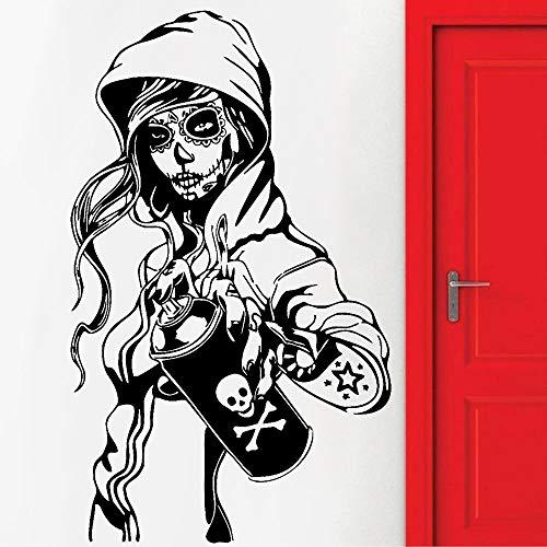 Crjzty Kreative Süßigkeiten Zuckerschädel Graffiti Mädchen Teen Blume Symbol Wandaufkleber Personalisierte Wandaufkleber Wird Für Die Dekoration Von Schlafzimmern Und Wohnzimmern Verwendet 94x57cm