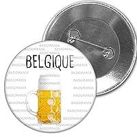 Badge Rond Diamètre 5.9cm Modèle Belgique Pinte de Bière - Humour Symbole Pays Logo impression couleur quadri sur support premium brillant avec protection par film mylar. Fixation par épingle au dos du badge Fabrication Française artisanale dans notr...