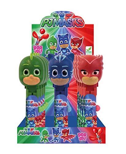 Lecca Lecca Super Pigiamini Pj Masks alla Fragola. Bombolone Lollipo Pop Ups dei Super Pigiamini (GattoBoy, Geko, Gufetta). Confezione da 12 pezzi. Ideale per Feste di Compleanno e Buffet di Caramelle