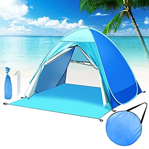 Pop Up Strandmuschel Tragbares Strandzelt UV Schutz Zelt für 2-3 Personen Belüftetes Strandzelt mit Netzbereich und Vorhang Superleichtes Strandzelt inkl. Tragetasche und Heringe