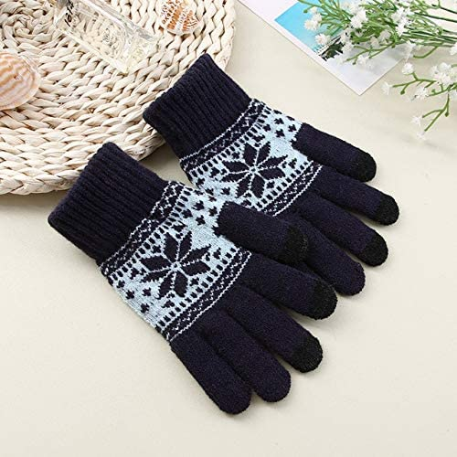 Gloves Men Five Fingers Warn Soft Knitting Winter Fashion Leisure Outdoor Bicycles Mens Daily Mittens Adults Chic - (Color: Navy, Gloves Size: One Size)