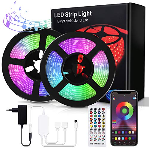 Bewahly Tiras LED 30M, Bluetooth RGB Tiras de Luces LED, Control de APP y Remoto Control, 16 Millones de Colores, Sincronización de Música, Tira de Luz LED para Habitación, Techo, Fiesta y Decoración