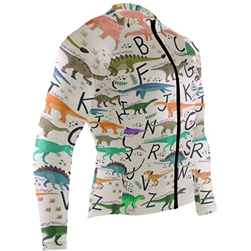 SLHFPX Dinosaurs Alphabet Cute Animals Mens Cycling Jersey Shirts Full Sleeve Road Bike Wear Outfit