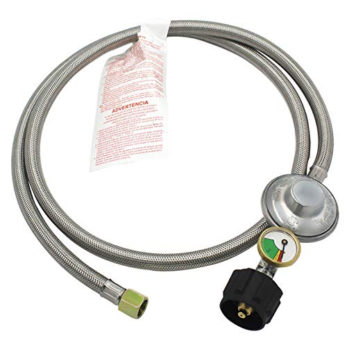 MCAMPAS 5FT Propane Regulator with Tank Gauge,Stainless Steel Braided Hose for Low Pressure Grill, Heater, Fire Pit, Stove