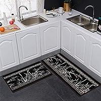 ブラックマット、キッチン、ストリップ耐油防水ドアマット戸口フットパッドカーペット家庭用寝室(サイズ:50×180cm) (Size : 50X80+50X120cm)
