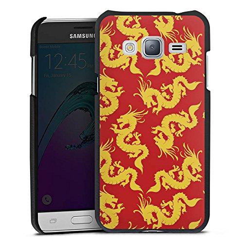 DeinDesign Cover kompatibel mit Samsung Galaxy J3 Duos 2016 Lederhülle schwarz Leder Hülle Leder Handyhülle Pattern Muster Gold