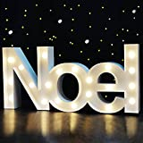Bright Zeal 18' Large NOEL Sign Marquee Letters With Lights (White, 6hr Timer) - Christmas Wall Decor NOEL Letter Christmas Tabletop Decorations For Home - Light Up Christmas Tabletop Decorations