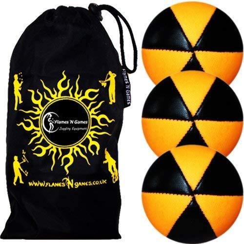 Flames N Games ASTRIX UV Thud Juggling Balls set of 3 (BLACK/ORANGE) Pro 6 Panel Leather Juggling...