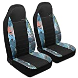 GIANT PANDA Hawaiian Print Cloth Front Car Seat Covers, Bucket Seat Covers, Fabric High Back Auto Seat Covers for Cars, SUV, Airbag Compatible (Hawaiian)