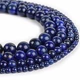 4 Größe Edelstein Perlen Natur Lapis Lazuli Set Natursteine 4mm 6mm 8mm 10mm RUND BLAU Halbedelstein Edelsteine Lapislazuli Schmuckperlen Schmuckstein für DIY Kette Basteln