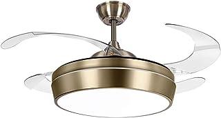 TODOLAMPARA - Ventilador de techo con luz LED modelo SIMUN color cuero/bronce con aspas retráctiles transparentes, silencioso, con 3 velocidades y control remoto con mando a distancia