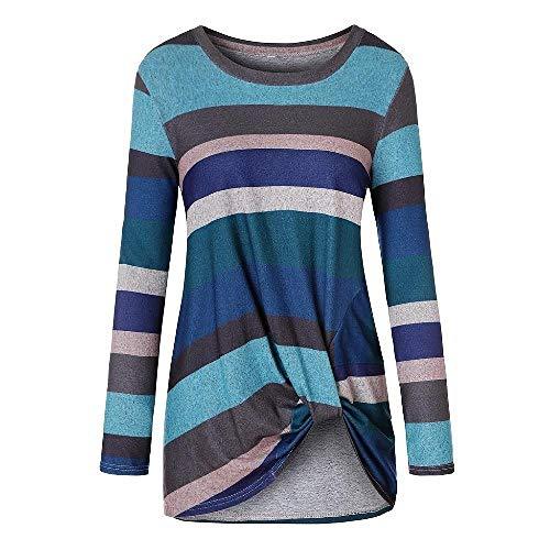 SHUX T-Shirt Sommer Damen Herbst gestreifte Langarm Baumwolle Rundhalsausschnitt Unregelmäßig geknotete Bluse, grün, L.