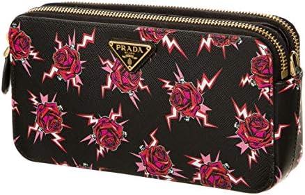 Prada Saffiano Rose Print Mini Zip Crossbody Bag Lacca 1DH010 product image