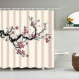 NHUJG Cortina de la duchaCortina de banheiro Estilo japonês Flores de cerejeira vermelha Rosa Cortinas banheiro Cortina clássica à Prova d' água em poliéster Cortina de banheiro com Ganchos
