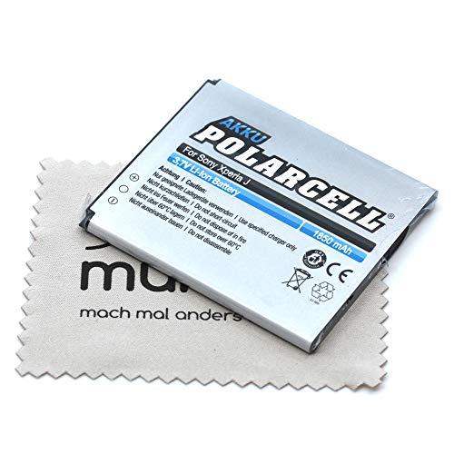 Batteria di ricambio per Sony Xperia E1 Xperia J Xperia L Xperia M Xperia TX (sostituisce batteria originale BA900) Polarcell con panno per la pulizia del display mungoo