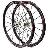 ZCXBHD Ruedas de Bicicleta de Carretera 700C de Fibra de Carbono 120 Anillos 40 Mm de Aleación Ultraligera C/V Disco de Freno Lanzamiento Rápido 8-9-10-11 Velocidad Cursor Reflejo