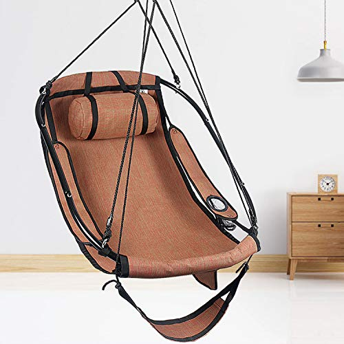 Bathonly Hammock Air Chair with Metal Bar Frame, Sky Hanging Chair with Plush & Supportive Pillow & Side Pouch, Footrest and Armrest Indoor/Outdoor 300 Lbs - Orange Red