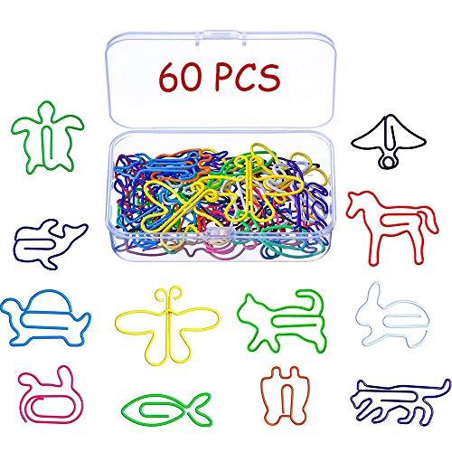 60 piezas Clips de Metal, Clips de Papel Multicolor Forma Animal Creativa, para Marcador de Libro Almohadilla de Agenda Cuaderno de Escuela de Oficina, Papelería y Suministros de Oficina, 12 Estilos