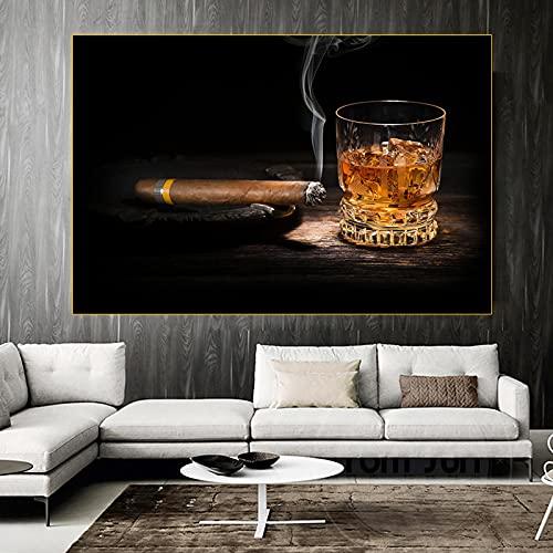 Carteles de arte de pared impresiones de cigarros iluminados y copa de vino lienzo pintura nórdica sala de estar moderna oficina dormitorio decoración imágenes 70x110cm sin marco