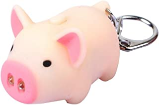 Powerfulline Cute Pig Style LED Light Sound Key Chain Keyring Car Bag Pendant Decoration Gift