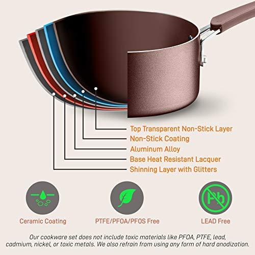 NutriChef Kitchenware Pots & Pans High-Qualified Basic Kitchen Cookware, Non-Stick (14-Piece Set), One Size, Brown
