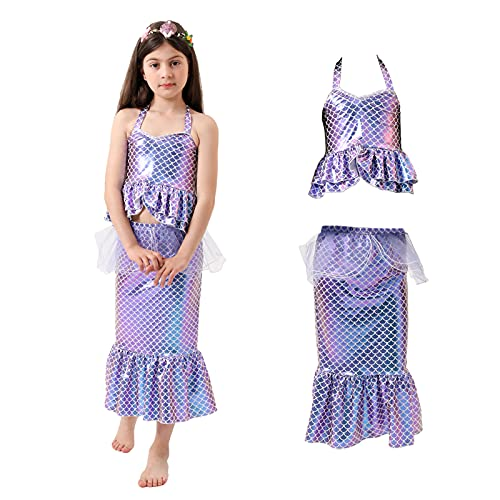 Vestido de nia pequea Sirena Princesa cumpleaos Vestido Elegante Disfraz Fiesta de Halloween Falda nio Cosplay (L)