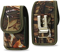 Vertical Canvas Hunter Camo Case with Velcro Closure with Belt Clip and Belt Loop for Straight Talk ZTE Z233VL or Z232TL