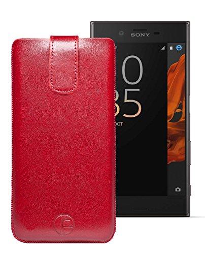 Original Favory Etui Tasche für Sony Xperia XZ / XZs / XZ1 | Leder Etui Handytasche Ledertasche Schutzhülle Hülle Hülle Lasche mit Rückzugfunktion* in rot