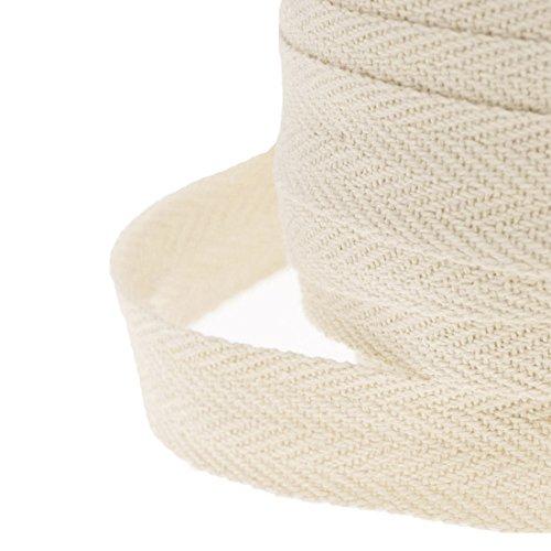 JJPRIME Cinta de costura de algodón, tela de sarga en espiga, 25 mm, algodón, beige, 50 Meter