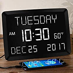 "11.5"" Large Alarm Clock for Bedroom, Calendar Day Clock, Digital LED Impaired Vision Desk Wall Kitchen Clock with Temperature, 5 Dimmer, 3 Alarms, 2 USB Chargers, DST, 12/24 H for Elderly, Memory Loss"