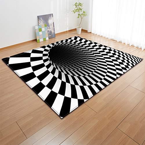 3D Illusion Vortex Teppich, Wirbel Bodenloses Loch Optische Täuschung Rechteck Teppich, für Wohnzimmer Esszimmer Schlafzimmer Küche,D,60 * 90cm