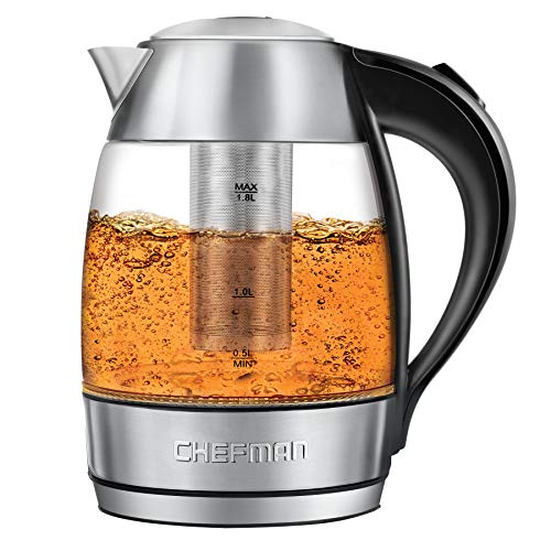 Chefman Electric Glass Kettle Fast Boiling Water Heater w/LED Lights Auto Shutoff & Boil Dry Protection, Separates from Base for Cordless Pouring, BPA Free, Removable Tea Infuser, 1.8 Liters