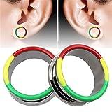 耳拡張耳プラグゲージ 一組のオイルカラーリングカラーイヤリング低刺激性ステンレス鋼絶妙な耳栓プラグ測定器エキスパンダー耳ピアス 拡張器 ボディピアス (Size : 14mm)