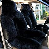 OKAYDA Car Seat Cover Genuine Australia Sheepskin High Low Wool Luxury Front Seat Cover Fits Car, Truck, SUV, or Van (1 Piece) (Black Wool)
