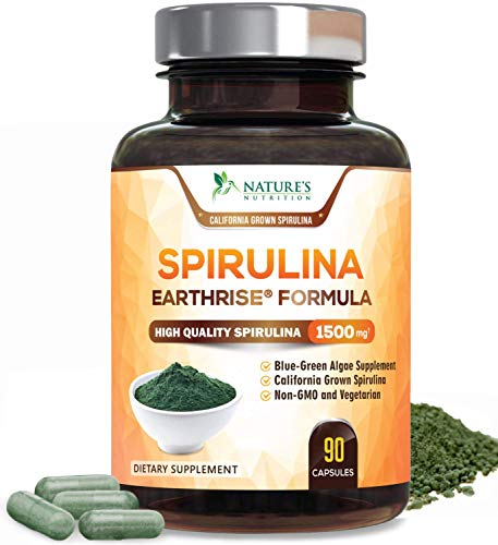 Spirulina Capsules 1500mg, Extra Strength Spirulina Blue-Green Micro-Algae Powder Supplement, Nutrient Dense Plant with Natural Antioxidants, Fatty Acids, Vitamins, Minerals - Non-GMO - 90 Capsules