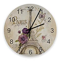 Roses Garden 12-Inch Indoor Silent Non-Ticking Wall Clock Texture Background The Eiffel Tower with Flower Retro Postcard Battery Operated Home Decor Wall Clock for Living Room/Kitchen/Office