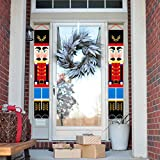 Loyalland Nutcracker Christmas Decorations Outdoor, Christmas Porch Sign Soldier Model Nutcracker Hanging Banners for Holiday Home Indoor Outdoor Porch Wall Christmas Decoration