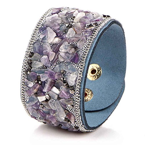 Femmes Punk style Large cuir Bracelets Bracelet de gravier en cristal naturel Bracelet Minzhi