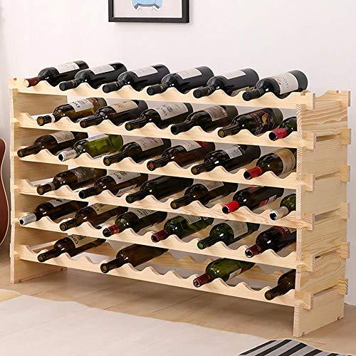 BAKAJI Cantinetta Porta Bottiglie Vino 72 Posti in Legno di Pino Portabottiglie Cantina Casa Bar Ristorante Dimensioni: 118 x 72 x 26 cm Colore Naturale