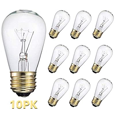 10-Pack S14 Replacement Light Bulbs-11 Watt Warm Incandescent Edison Light Bulbs with E26 Medium Base for Commercial Grade Outdoor Patio String Lights