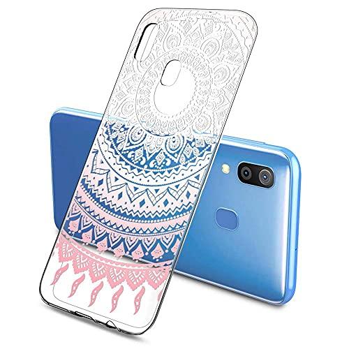 Oihxse Color Gradiente Funda Compatible con Huawei P9 Lite, Transparente Silicona Ultra Delgado Anti-rasguños Protector Case, Circulo Puntilla Flor Diseño TPU Cover