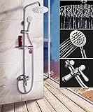 Gnailur 1 set Bathroom Lluefall Ducha Grifo Conjunto de grifo de una sola manija Mezclador Tap con el estante conjuntos de ducha de baño montado en la pared