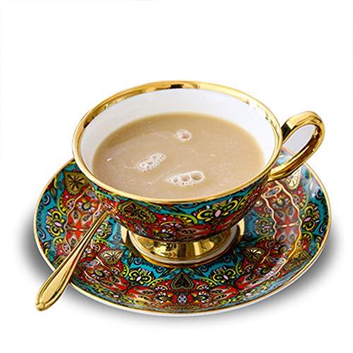 Juego de taza de café de porcelana de estilo nórdico vintage con taza de té inglés de cerámica y taza de azafrán roja