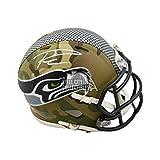 Russell Wilson Autographed Seattle Seahawks Camo Mini Football Helmet - BAS COA - Autographed NFL Helmets